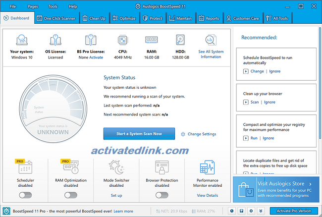 Auslogics BoostSpeed 11.4.0 Crack Plus License Key 2020 Full Free